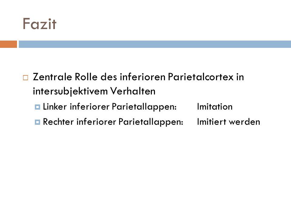 Fazit Zentrale Rolle des inferioren Parietalcortex in intersubjektivem Verhalten Linker inferiorer Parietallappen: Imitation Rechter inferiorer Parietallappen:Imitiert werden