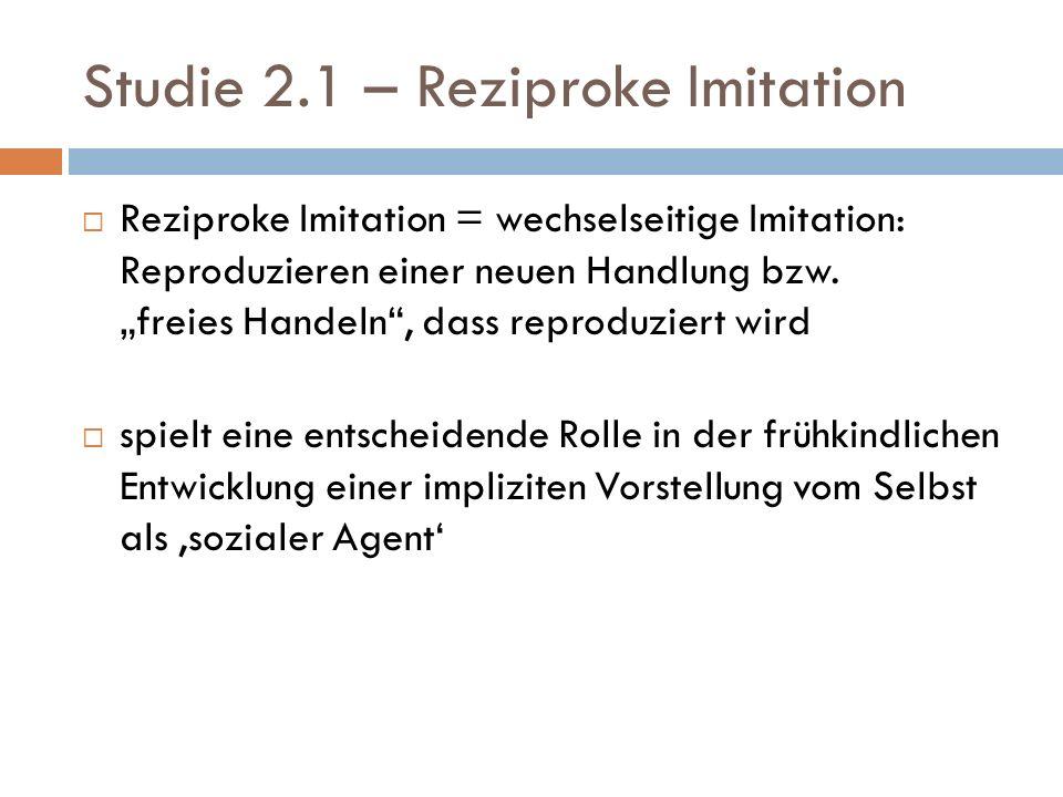 Studie 2.1 – Reziproke Imitation Studie: Vergleich von Personen die imitieren oder imitiert werden Annahme: In beiden Bedingungen sind die Effektoren und der visuelle und sensomotorische Input identisch; Unterschied nur in der Wahrnehmung als Agent oder als Imitator