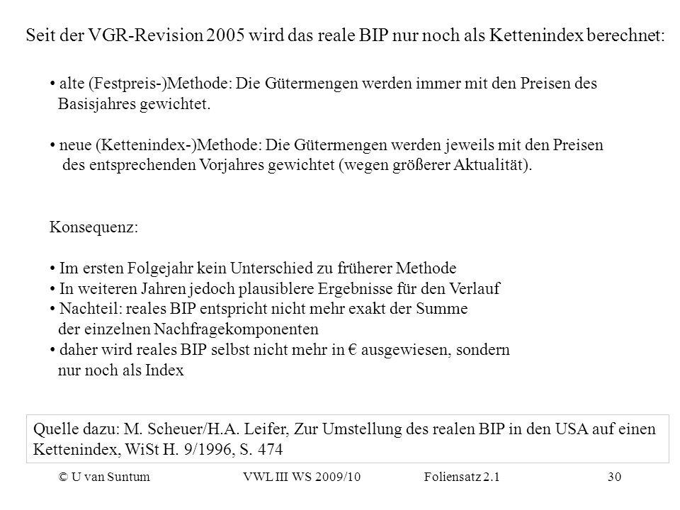 © U van SuntumVWL III WS 2009/10 Foliensatz 2.130 Seit der VGR-Revision 2005 wird das reale BIP nur noch als Kettenindex berechnet: Konsequenz: Im ers