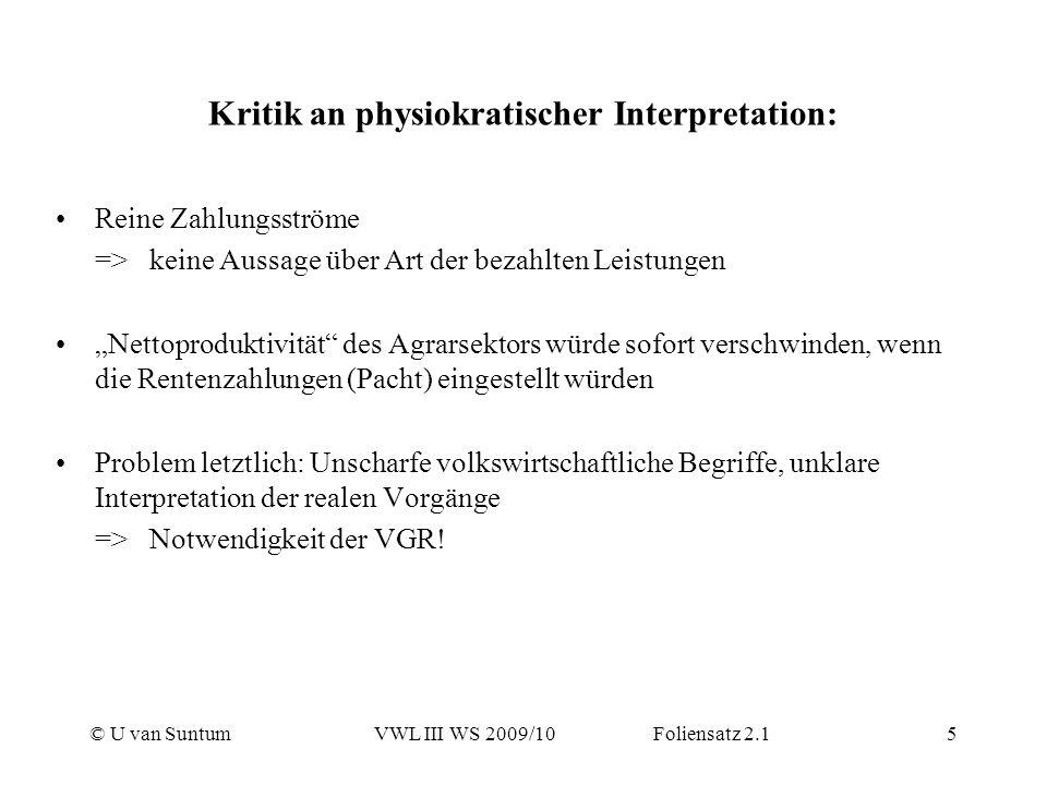 © U van SuntumVWL III WS 2009/10 Foliensatz 2.15 Kritik an physiokratischer Interpretation: Reine Zahlungsströme => keine Aussage über Art der bezahlt