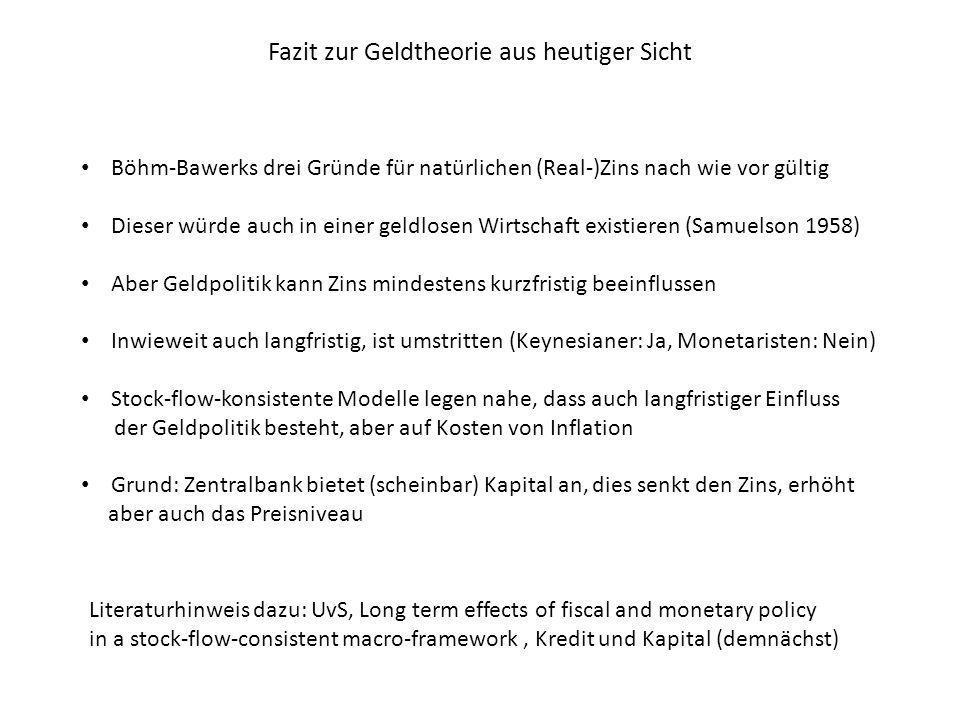 Fazit zur Geldtheorie aus heutiger Sicht Böhm-Bawerks drei Gründe für natürlichen (Real-)Zins nach wie vor gültig Dieser würde auch in einer geldlosen