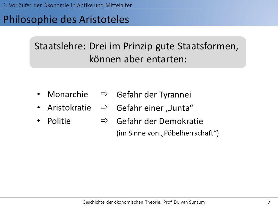 Philosophie des Aristoteles 2. Vorläufer der Ökonomie in Antike und Mittelalter Geschichte der ökonomischen Theorie, Prof. Dr. van Suntum 7 Staatslehr
