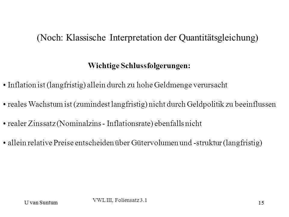 U van Suntum 15 (Noch: Klassische Interpretation der Quantitätsgleichung) Wichtige Schlussfolgerungen: Inflation ist (langfristig) allein durch zu hoh