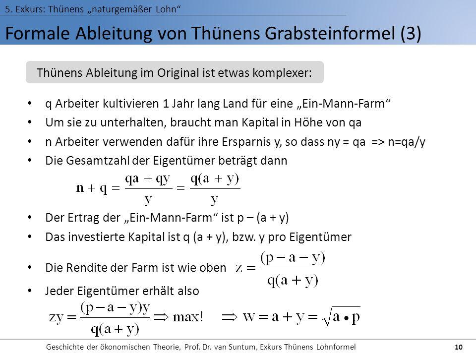 Formale Ableitung von Thünens Grabsteinformel (3) 5. Exkurs: Thünens naturgemäßer Lohn Geschichte der ökonomischen Theorie, Prof. Dr. van Suntum, Exku