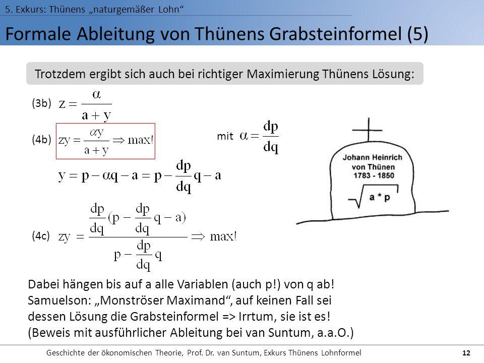 Formale Ableitung von Thünens Grabsteinformel (5) 5. Exkurs: Thünens naturgemäßer Lohn Geschichte der ökonomischen Theorie, Prof. Dr. van Suntum, Exku