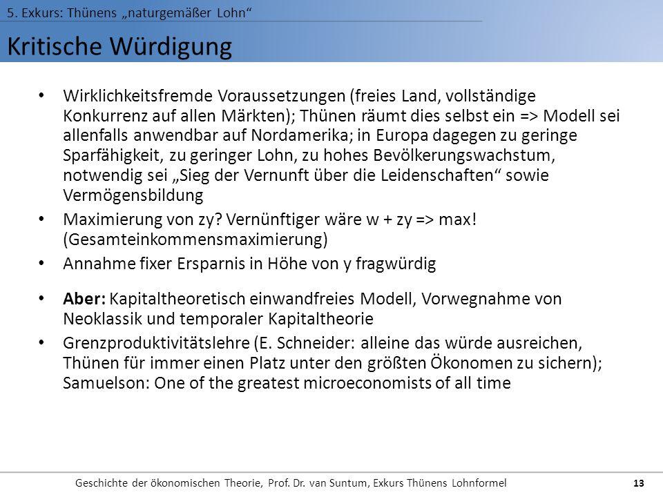 Kritische Würdigung 5. Exkurs: Thünens naturgemäßer Lohn Geschichte der ökonomischen Theorie, Prof. Dr. van Suntum, Exkurs Thünens Lohnformel 13 Wirkl