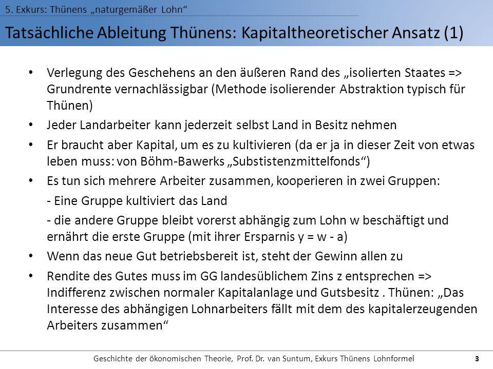 Tatsächliche Ableitung Thünens: Kapitaltheoretischer Ansatz (1) 5. Exkurs: Thünens naturgemäßer Lohn Geschichte der ökonomischen Theorie, Prof. Dr. va
