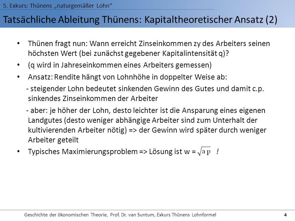 Tatsächliche Ableitung Thünens: Kapitaltheoretischer Ansatz (2) 5. Exkurs: Thünens naturgemäßer Lohn Geschichte der ökonomischen Theorie, Prof. Dr. va
