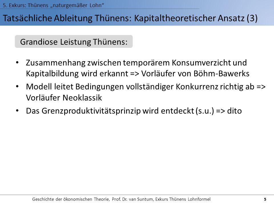 Tatsächliche Ableitung Thünens: Kapitaltheoretischer Ansatz (3) 5. Exkurs: Thünens naturgemäßer Lohn Geschichte der ökonomischen Theorie, Prof. Dr. va