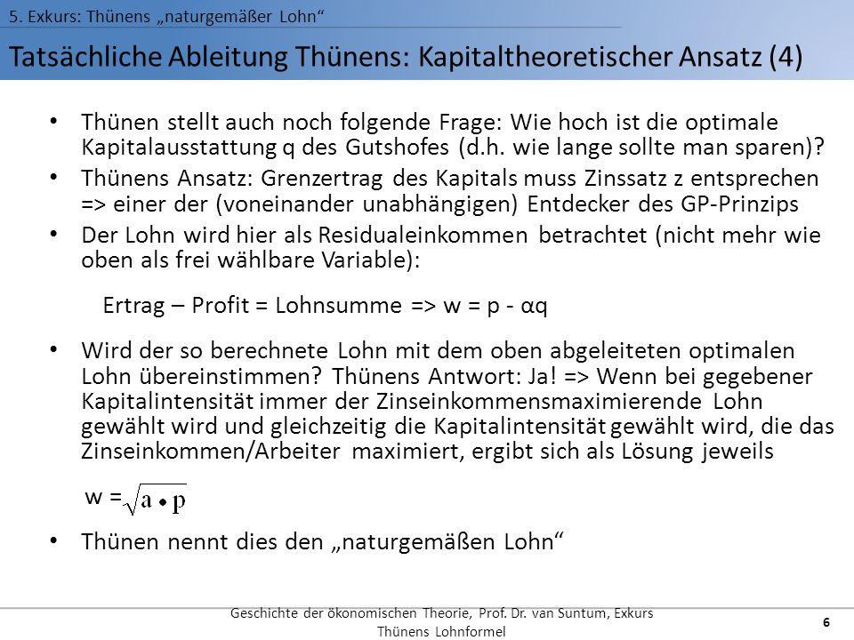 Tatsächliche Ableitung Thünens: Kapitaltheoretischer Ansatz (4) 5. Exkurs: Thünens naturgemäßer Lohn Geschichte der ökonomischen Theorie, Prof. Dr. va