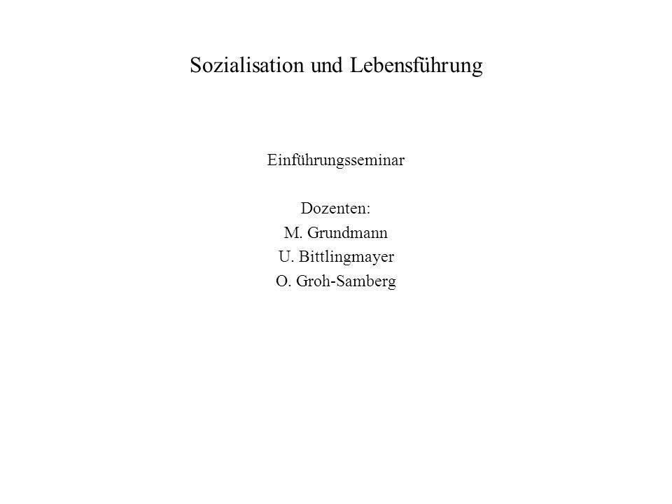 Sozialisation und Lebensführung Einführungsseminar Dozenten: M. Grundmann U. Bittlingmayer O. Groh-Samberg