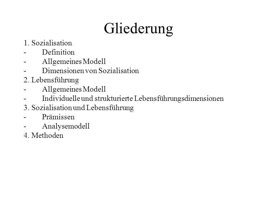 Gliederung 1. Sozialisation -Definition -Allgemeines Modell -Dimensionen von Sozialisation 2. Lebensführung -Allgemeines Modell -Individuelle und stru