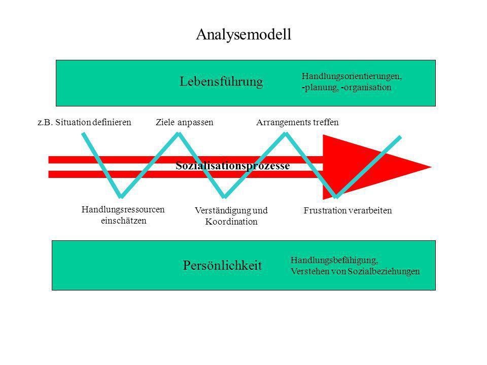 Analysemodell Lebensführung Persönlichkeit Handlungsorientierungen, -planung, -organisation Handlungsbefähigung, Verstehen von Sozialbeziehungen Ziele