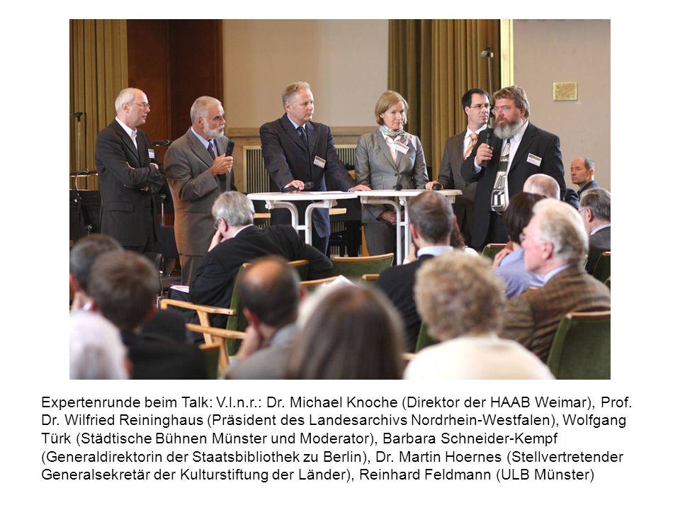 Expertenrunde beim Talk: V.l.n.r.: Dr. Michael Knoche (Direktor der HAAB Weimar), Prof. Dr. Wilfried Reininghaus (Präsident des Landesarchivs Nordrhei