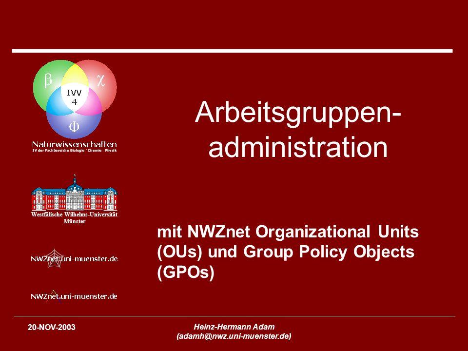 2 Schedule TerminThema 13-NOV-2003IVV Naturwissenschaften und NWZnet – Überblick und Konzepte (nicht nur für Windows- Administratoren) 20-NOV-2003Arbeitsgruppenadministration mit NWZnet Organizational Units (OUs) und Group Policy Objects (GPOs) 27-NOV-2003Installation und Konfiguration von Windows Servern 04-DEC-2003Installation von NWZnet Windows-Clients 11-DEC-2003Linux in NWZnet 18-DEC-2003Benutzung von tragbaren Computern unter Windows in NWZnet