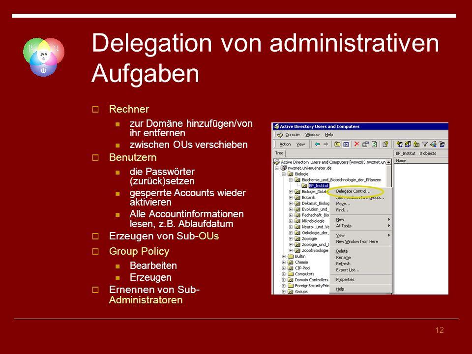 12 Delegation von administrativen Aufgaben Rechner zur Domäne hinzufügen/von ihr entfernen zwischen OUs verschieben Benutzern die Passwörter (zurück)s