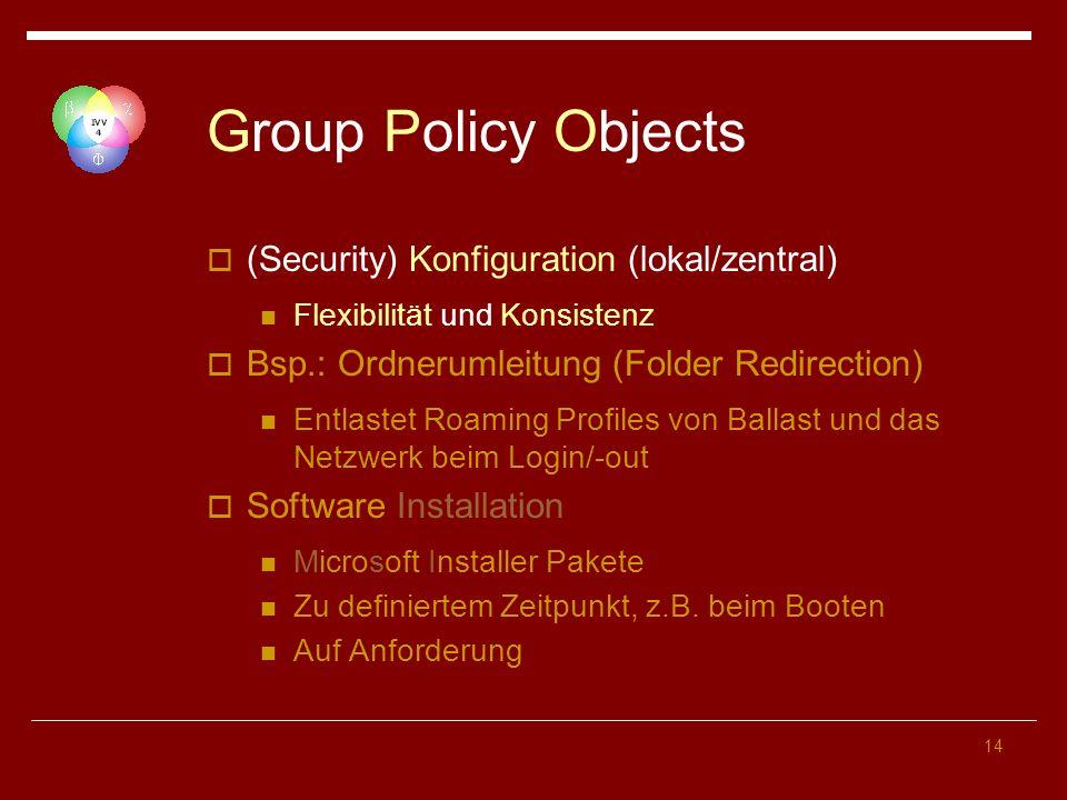 14 Group Policy Objects (Security) Konfiguration (lokal/zentral) Flexibilität und Konsistenz Bsp.: Ordnerumleitung (Folder Redirection) Entlastet Roam