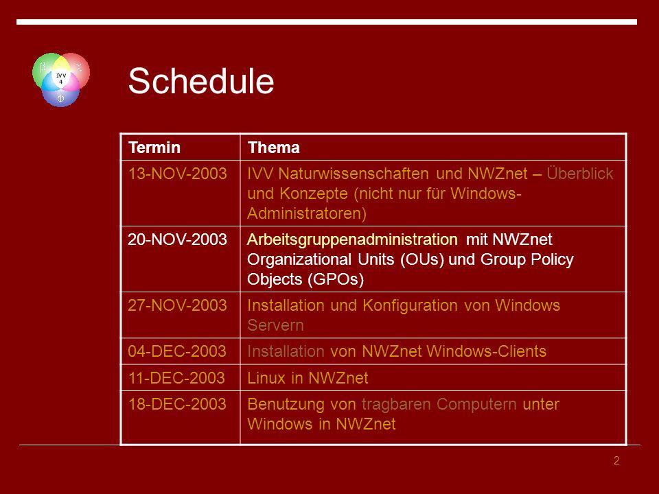2 Schedule TerminThema 13-NOV-2003IVV Naturwissenschaften und NWZnet – Überblick und Konzepte (nicht nur für Windows- Administratoren) 20-NOV-2003Arbe