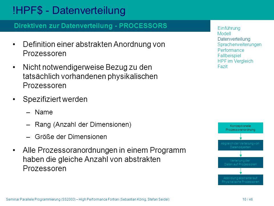 Seminar Parallele Programmierung (SS2003) – High Performance Fortran (Sebastian König, Stefan Seidel)10 / 46 !HPF$ - Datenverteilung Definition einer