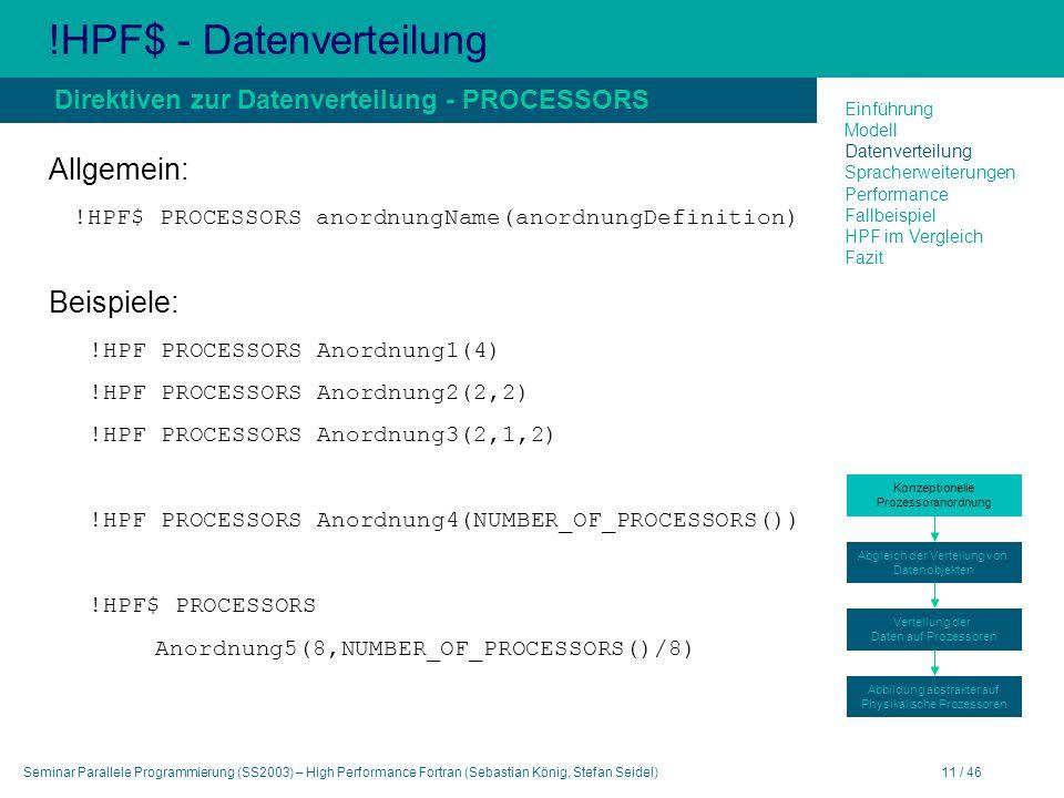 Seminar Parallele Programmierung (SS2003) – High Performance Fortran (Sebastian König, Stefan Seidel)11 / 46 !HPF$ - Datenverteilung Allgemein: !HPF$