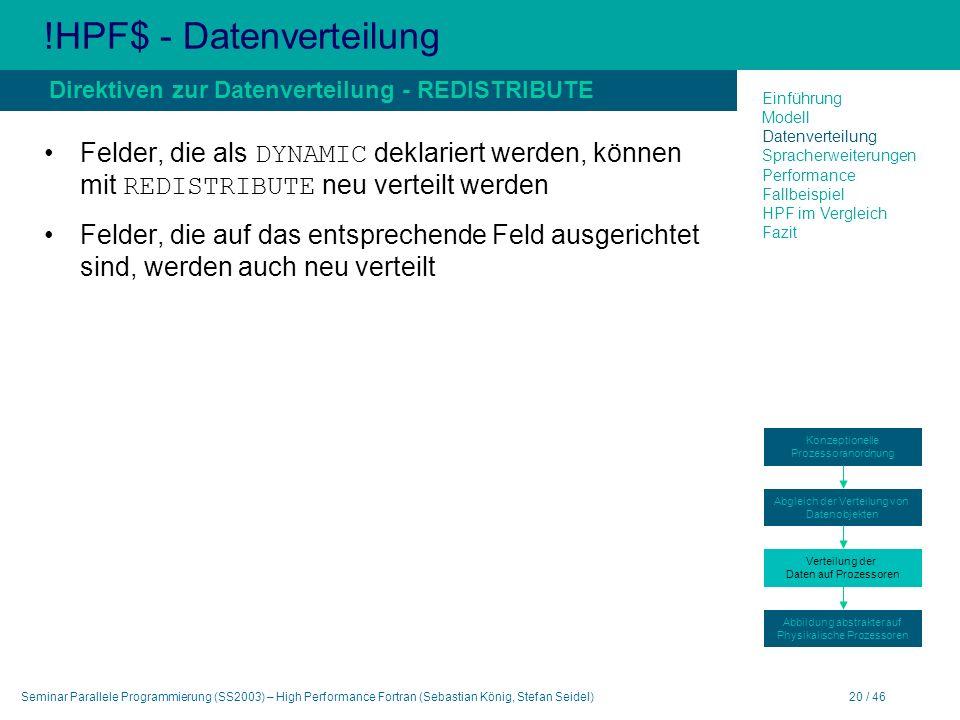 Seminar Parallele Programmierung (SS2003) – High Performance Fortran (Sebastian König, Stefan Seidel)20 / 46 !HPF$ - Datenverteilung Felder, die als DYNAMIC deklariert werden, können mit REDISTRIBUTE neu verteilt werden Felder, die auf das entsprechende Feld ausgerichtet sind, werden auch neu verteilt Direktiven zur Datenverteilung - REDISTRIBUTE Einführung Modell Datenverteilung Spracherweiterungen Performance Fallbeispiel HPF im Vergleich Fazit Konzeptionelle Prozessoranordnung Abgleich der Verteilung von Datenobjekten Verteilung der Daten auf Prozessoren Abbildung abstrakter auf Physikalische Prozessoren