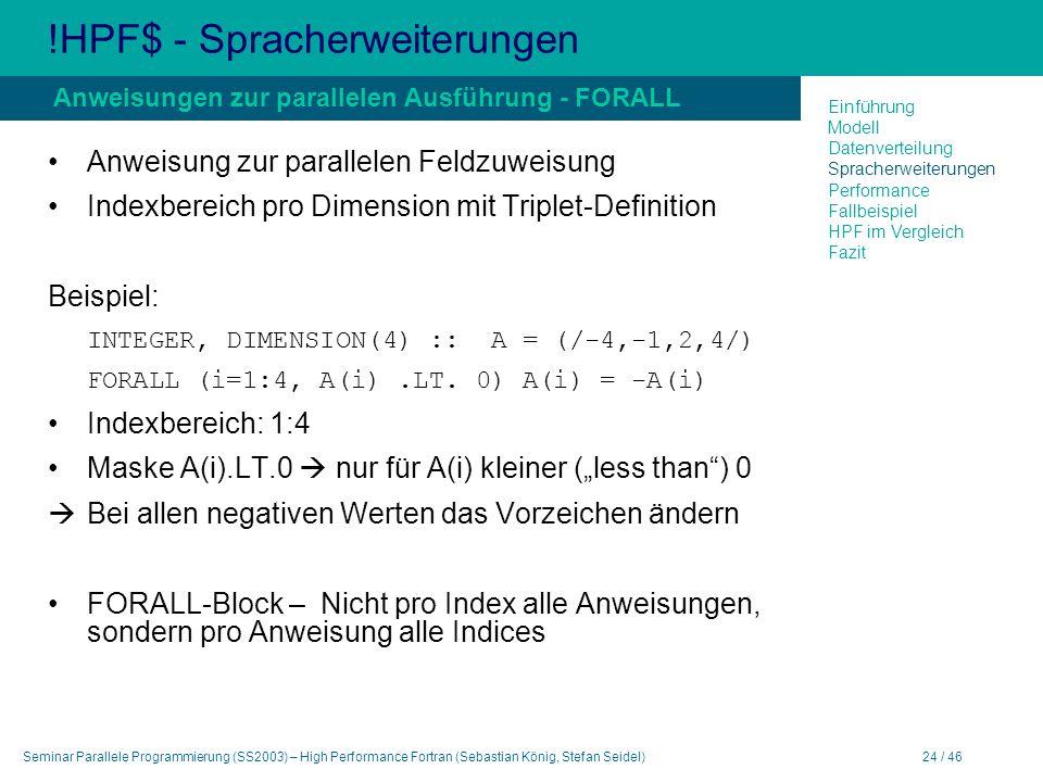 Seminar Parallele Programmierung (SS2003) – High Performance Fortran (Sebastian König, Stefan Seidel)24 / 46 !HPF$ - Spracherweiterungen Anweisung zur