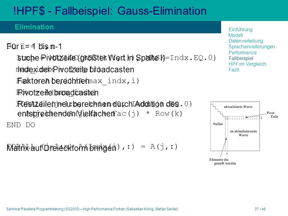 Seminar Parallele Programmierung (SS2003) – High Performance Fortran (Sebastian König, Stefan Seidel)37 / 46 !HPF$ - Fallbeispiel: Gauss-Elimination Elimination Für i = 1 bis n-1 suche Pivotzeile (größter Wert in Spalte i) Index der Pivotzeile broadcasten Faktoren berechnen Pivotzeile broadcasten Restzeilen neu berechnen durch Addition des entsprechenden Vielfachen Matrix auf Dreieckform bringen Einführung Modell Datenverteilung Spracherweiterungen Performance Fallbeispiel HPF im Vergleich Fazit DO i = 1,n Itmp = MAXLOC(ABS(A(:,i)), MASK=Indx.EQ.0) max_indx = Itmp(1) Fac = A(:,i)/A(max_indx,i) Row = A(max_indx) FORALL (j=1:n, k=i:n+1, Indx(j).EQ.0) A(j,k) = A(j,k) + Fac(j) * Row(k) END DO FORALL (j=1:n) A(Indx(j),:) = A(j,:)
