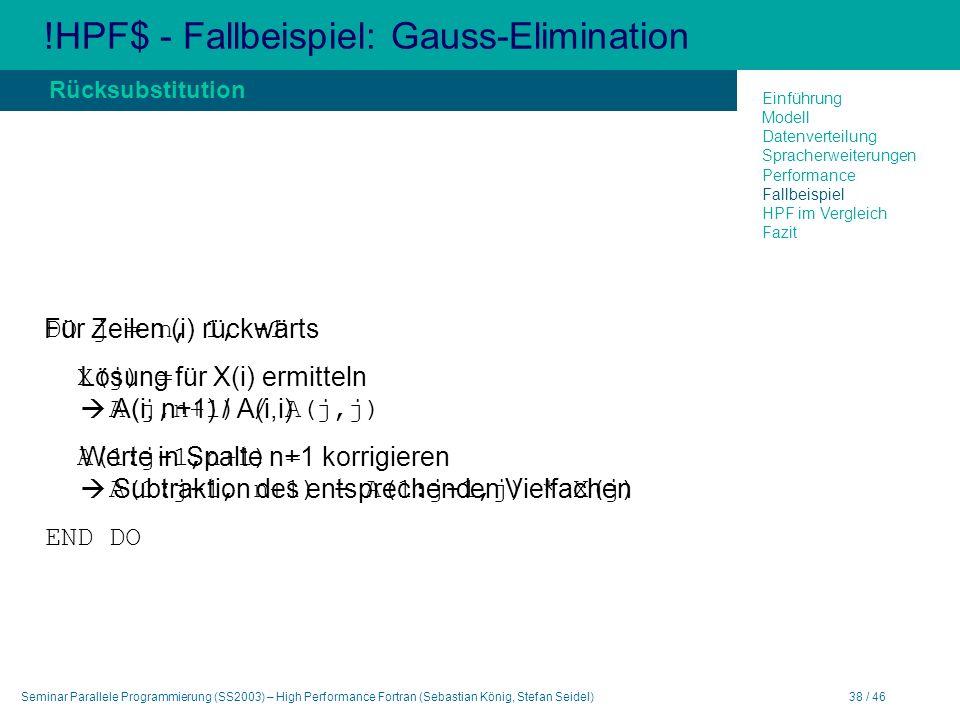 Seminar Parallele Programmierung (SS2003) – High Performance Fortran (Sebastian König, Stefan Seidel)38 / 46 !HPF$ - Fallbeispiel: Gauss-Elimination Für Zeilen (i) rückwärts Lösung für X(i) ermitteln A(i, n+1) / A(i,i) Werte in Spalte n+1 korrigieren Subtraktion des entsprechenden Vielfachen Rücksubstitution Einführung Modell Datenverteilung Spracherweiterungen Performance Fallbeispiel HPF im Vergleich Fazit DO j = n, 1, -1 X(j) = A(j,n+1) / A(j,j) A(1:j-1,n+1) = A(1:j-1, n+1) - A(1:j-1,j) * X(j) END DO