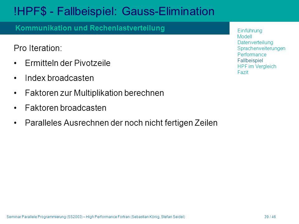 Seminar Parallele Programmierung (SS2003) – High Performance Fortran (Sebastian König, Stefan Seidel)39 / 46 !HPF$ - Fallbeispiel: Gauss-Elimination P