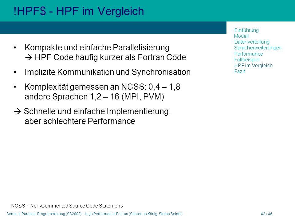 Seminar Parallele Programmierung (SS2003) – High Performance Fortran (Sebastian König, Stefan Seidel)42 / 46 !HPF$ - HPF im Vergleich Kompakte und ein