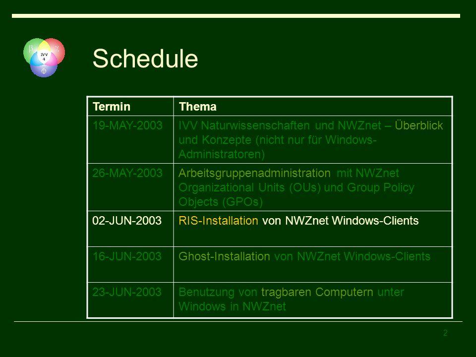 3 Agenda Client Installation Windows Standardkonfiguration Remote Installation Services (RIS) RIS-Server RIS-Bootvorgang Client Installation Wizard (CIW) Manuelle Restkonfiguration Netzwerk Drucker Spezielle Software