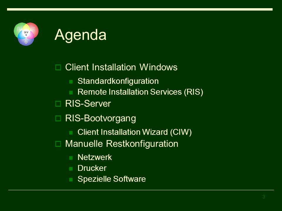 3 Agenda Client Installation Windows Standardkonfiguration Remote Installation Services (RIS) RIS-Server RIS-Bootvorgang Client Installation Wizard (C