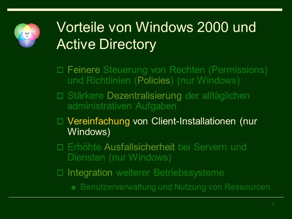 4 Vorteile von Windows 2000 und Active Directory Feinere Steuerung von Rechten (Permissions) und Richtlinien (Policies) (nur Windows) Stärkere Dezentralisierung der alltäglichen administrativen Aufgaben Vereinfachung von Client-Installationen (nur Windows) Erhöhte Ausfallsicherheit bei Servern und Diensten (nur Windows) Integration weiterer Betriebssysteme Benutzerverwaltung und Nutzung von Ressourcen