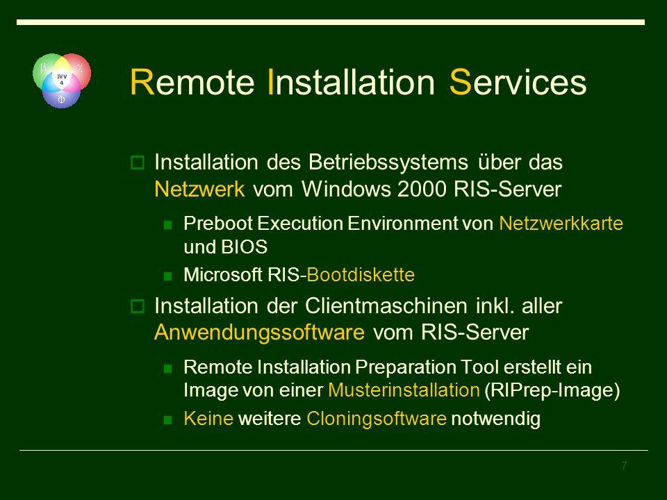 8 Remote Installation Service OS-Images für Windows 2000 Professional Windows 2000 Server Windows XP Professional RIPrep-Image für Windows 2000 Professional mit Multi- Language User Interface und Client-Installationen der verfügbaren Anwendungssoftware Ein Image pro Hardwarearchitektur (HAL) Keine Beschränkung der Storagedevices (IDE vs.