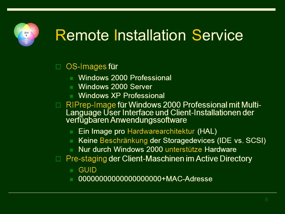 8 Remote Installation Service OS-Images für Windows 2000 Professional Windows 2000 Server Windows XP Professional RIPrep-Image für Windows 2000 Professional mit Multi- Language User Interface und Client-Installationen der verfügbaren Anwendungssoftware Ein Image pro Hardwarearchitektur (HAL) Keine Beschränkung der Storagedevices (IDE vs.