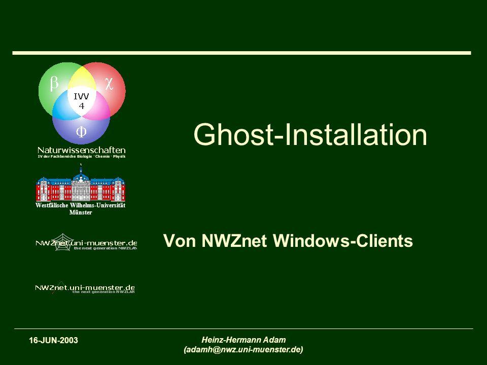 2 Schedule TerminThema 19-MAY-2003IVV Naturwissenschaften und NWZnet – Überblick und Konzepte (nicht nur für Windows- Administratoren) 26-MAY-2003Arbeitsgruppenadministration mit NWZnet Organizational Units (OUs) und Group Policy Objects (GPOs) 02-JUN-2003RIS-Installation von NWZnet Windows-Clients 16-JUN-2003Ghost-Installation von NWZnet Windows-Clients 23-JUN-2003Benutzung von tragbaren Computern unter Windows in NWZnet