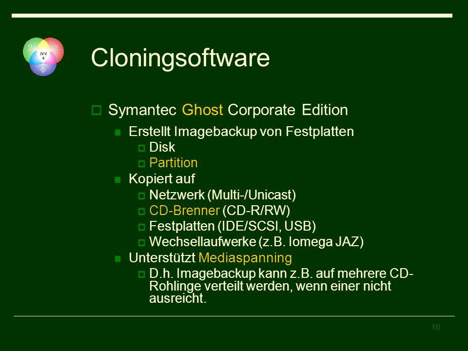 10 Cloningsoftware Symantec Ghost Corporate Edition Erstellt Imagebackup von Festplatten Disk Partition Kopiert auf Netzwerk (Multi-/Unicast) CD-Brenn
