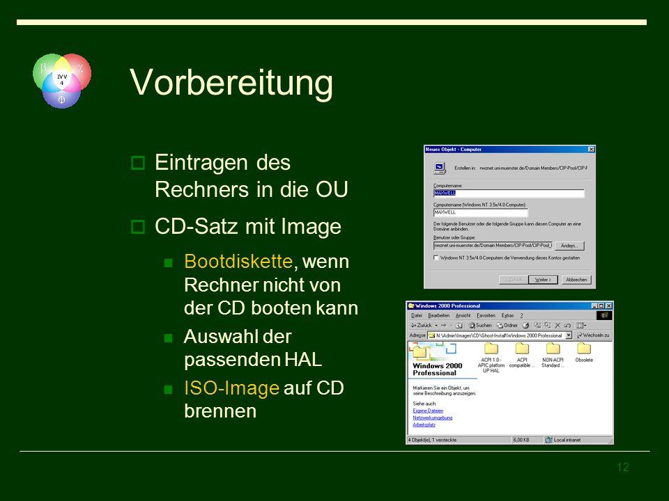 12 Vorbereitung Eintragen des Rechners in die OU CD-Satz mit Image Bootdiskette, wenn Rechner nicht von der CD booten kann Auswahl der passenden HAL I
