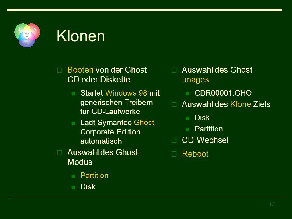 13 Klonen Booten von der Ghost CD oder Diskette Startet Windows 98 mit generischen Treibern für CD-Laufwerke Lädt Symantec Ghost Corporate Edition aut