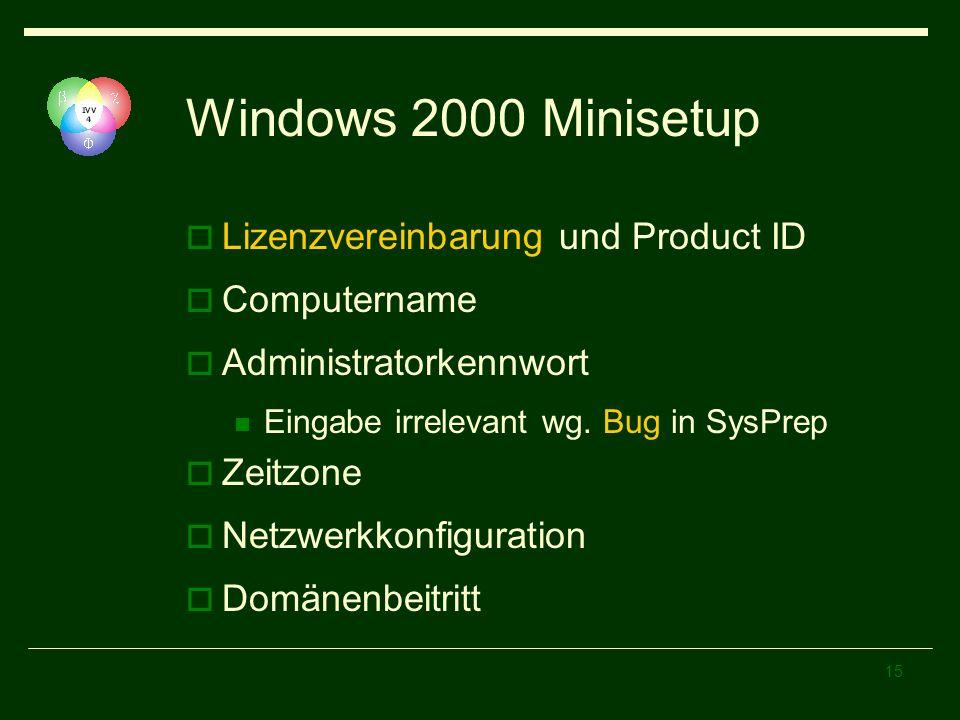 15 Windows 2000 Minisetup Lizenzvereinbarung und Product ID Computername Administratorkennwort Eingabe irrelevant wg. Bug in SysPrep Zeitzone Netzwerk