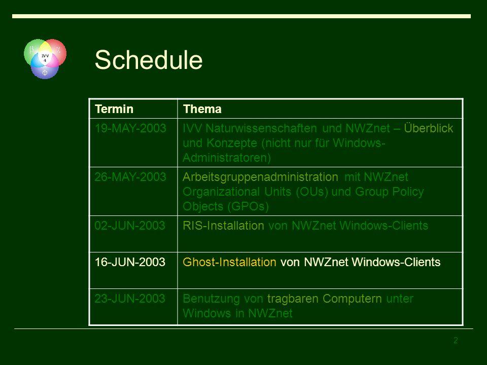 2 Schedule TerminThema 19-MAY-2003IVV Naturwissenschaften und NWZnet – Überblick und Konzepte (nicht nur für Windows- Administratoren) 26-MAY-2003Arbe