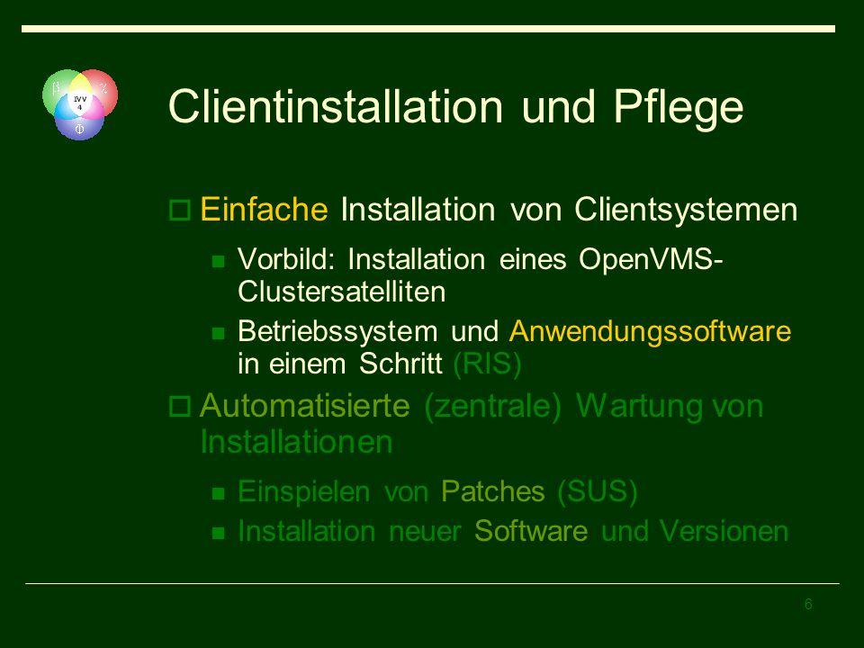6 Clientinstallation und Pflege Einfache Installation von Clientsystemen Vorbild: Installation eines OpenVMS- Clustersatelliten Betriebssystem und Anw
