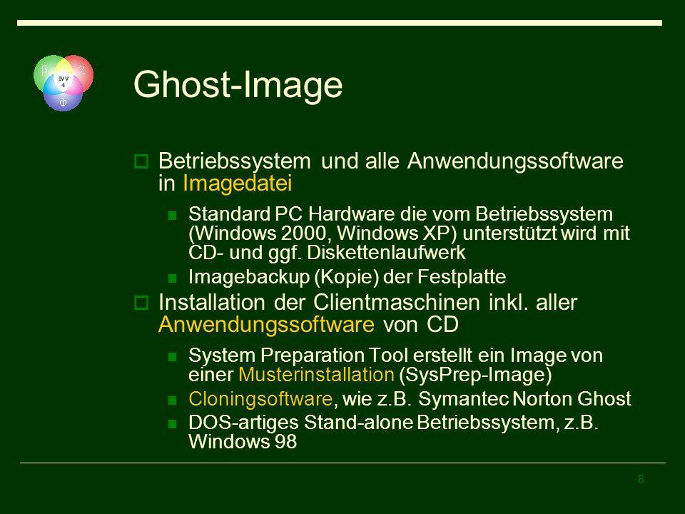 8 Ghost-Image Betriebssystem und alle Anwendungssoftware in Imagedatei Standard PC Hardware die vom Betriebssystem (Windows 2000, Windows XP) unterstü