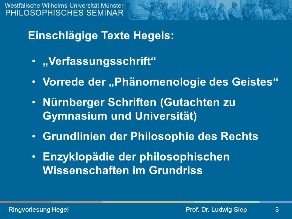 Ringvorlesung HegelProf. Dr. Ludwig Siep3 Verfassungsschrift Vorrede der Phänomenologie des Geistes Nürnberger Schriften (Gutachten zu Gymnasium und U