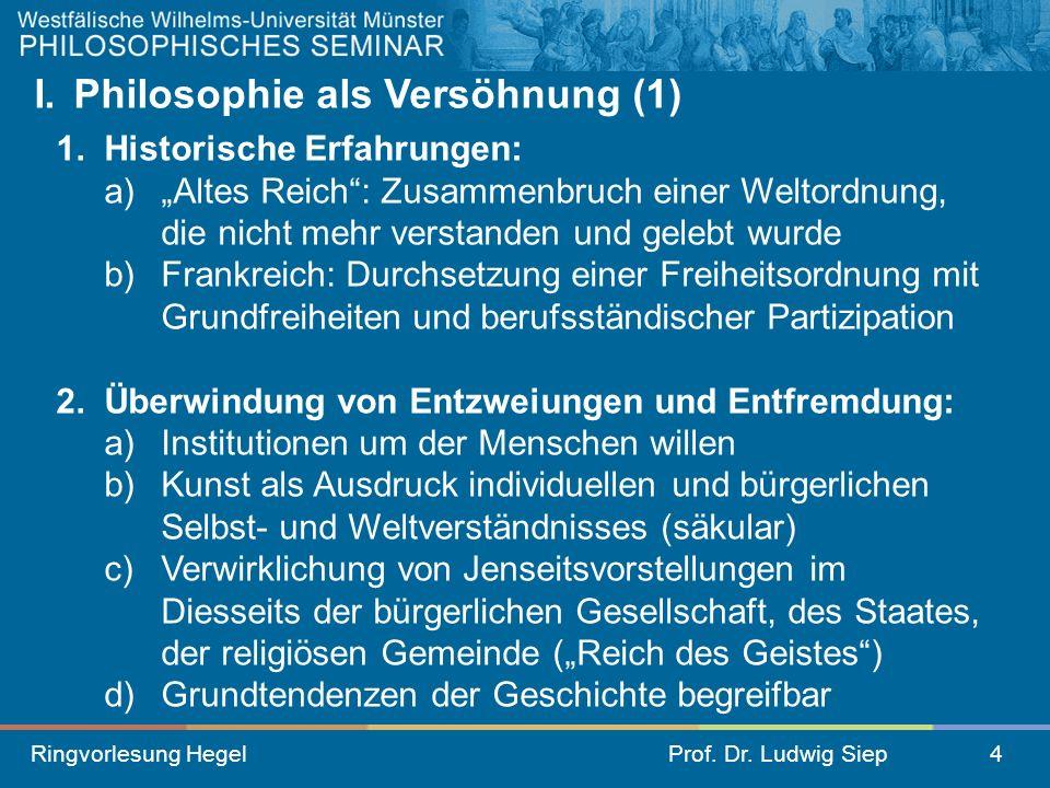 Ringvorlesung HegelProf. Dr. Ludwig Siep4 I. Philosophie als Versöhnung (1) 1. Historische Erfahrungen: a) Altes Reich: Zusammenbruch einer Weltordnun