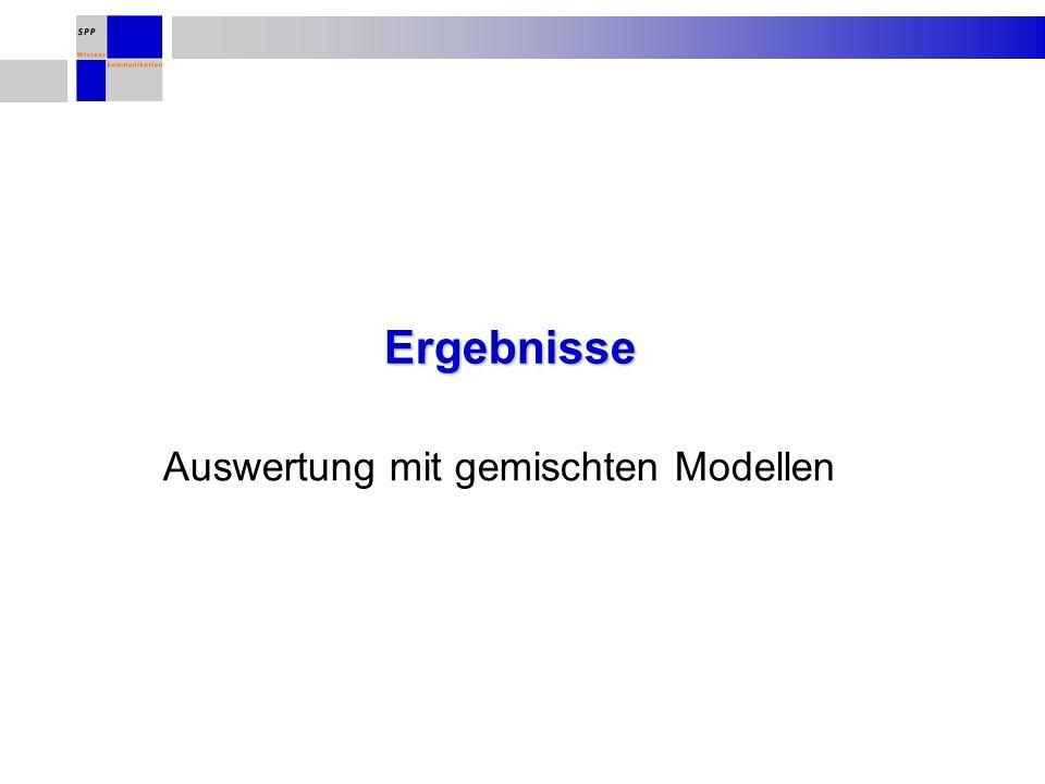 Ergebnisse Auswertung mit gemischten Modellen