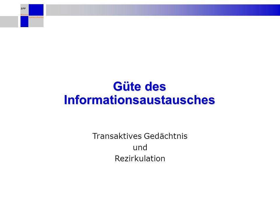 Güte des Informationsaustausches Transaktives Gedächtnis und Rezirkulation