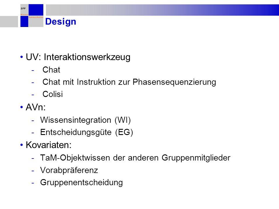 Design UV: Interaktionswerkzeug - Chat - Chat mit Instruktion zur Phasensequenzierung - Colisi AVn: -Wissensintegration (WI) -Entscheidungsgüte (EG) Kovariaten: -TaM-Objektwissen der anderen Gruppenmitglieder -Vorabpräferenz -Gruppenentscheidung