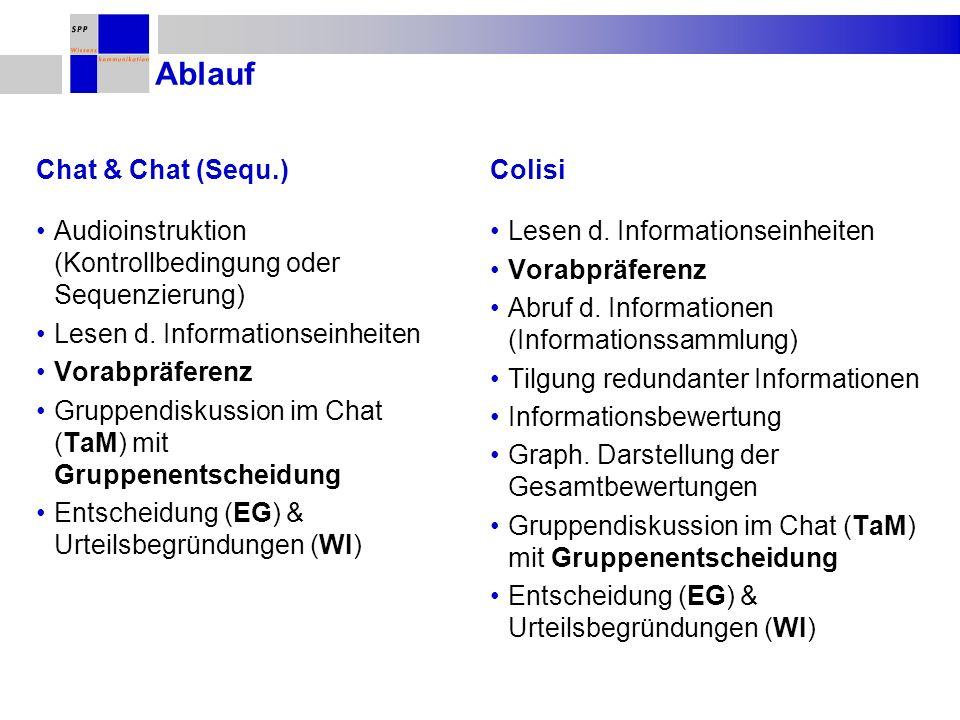 Ablauf Audioinstruktion (Kontrollbedingung oder Sequenzierung) Lesen d. Informationseinheiten Vorabpräferenz Gruppendiskussion im Chat (TaM) mit Grupp