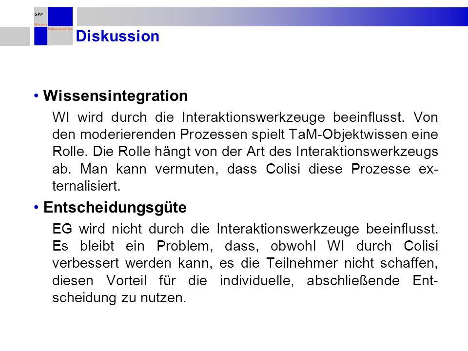 Diskussion Wissensintegration WI wird durch die Interaktionswerkzeuge beeinflusst.